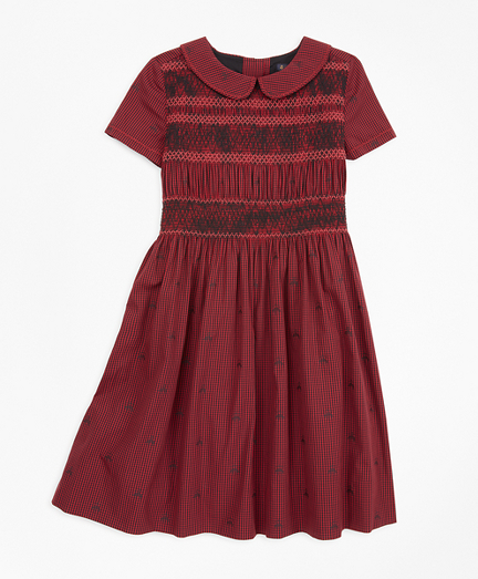 Girls Cotton Short-Sleeve Smocked Dress