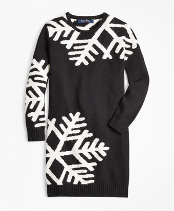 Girls Long-Sleeve Oversized Snowflake Dress