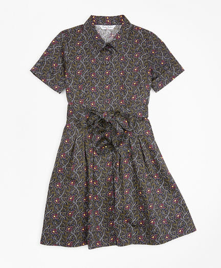 Girls Cotton Pleated Floral Print Shirt Dress