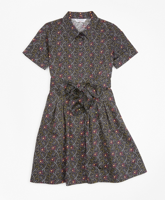 Girls Cotton Pleated Floral Print Shirt Dress Navy