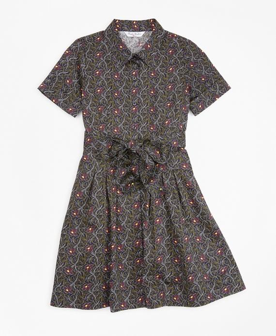 Girls Cotton Pleated Floral Print Shirt Dress Navy