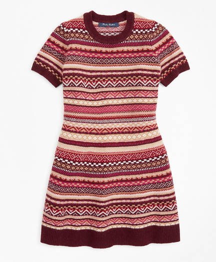 Girls Merino Wool-Blend Fair Isle Sweater Dress