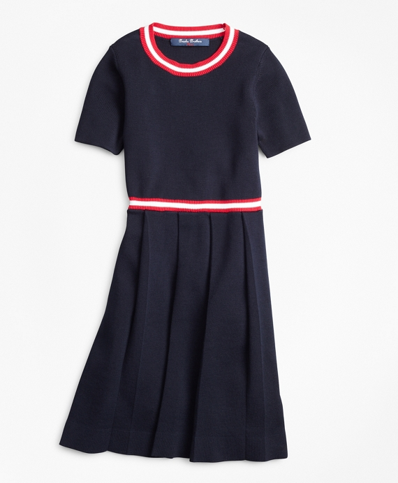 Girls Pleated Cotton Sweater Dress Navy