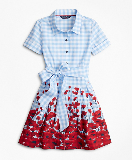Girls Cotton Poplin Floral Shirt Dress