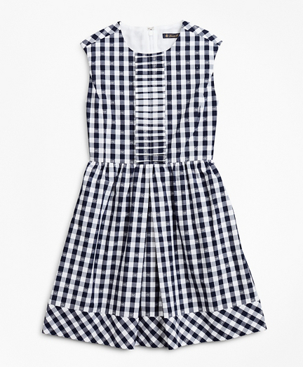 Girls Cotton Cap-Sleeve Gingham Dress