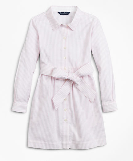Girls Non-Iron Cotton Stripe Shirt Dress