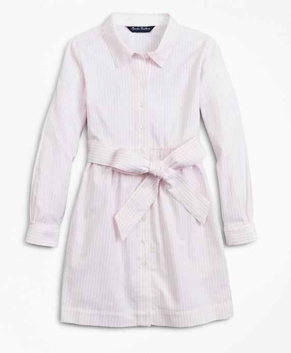 Girls Non-Iron Cotton Stripe Shirt Dress Pink