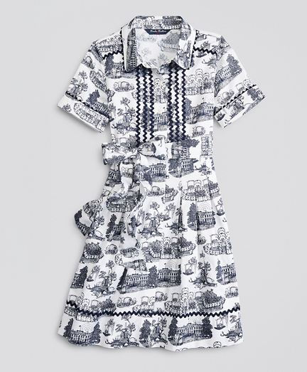 Girls Supima® Cotton Toile Printed Shirt Dress