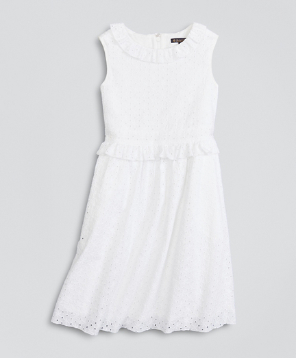 Girls Cotton Eyelet Ruffle Dress