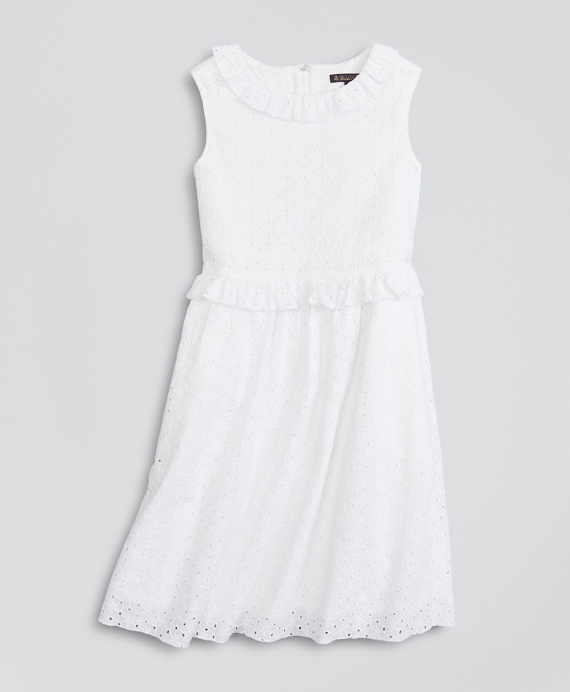 Girls Cotton Eyelet Ruffle Dress White