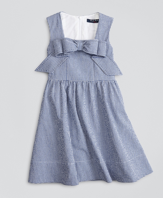 Girls Sleeveless Seersucker Bow Front Dress Navy-White