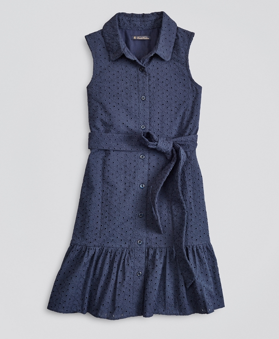 Girls Cotton Eyelet Shirt Dress Navy