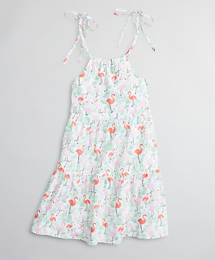Girls Flamingo Print Cotton Dress