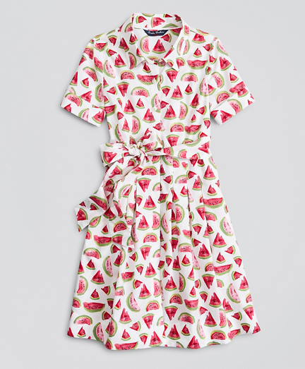Girls Cotton Poplin Watermelon Print Shirt Dress