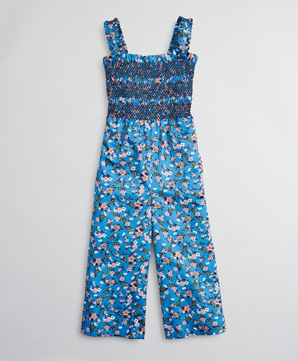Girls Cotton Sateen Floral Jumpsuit