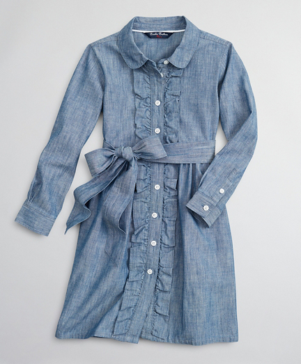 Girls Cotton Chambray Ruffle Shirt Dress