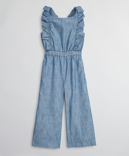 Girls Cotton Chambray Ruffle Jumpsuit
