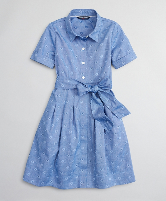 Girls Cotton Jacquard Floral Shirt Dress Blue