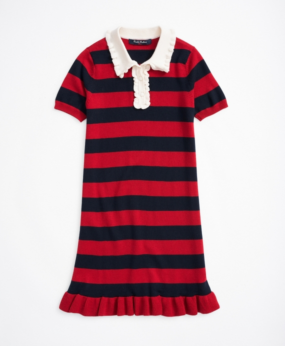 Girls Merino Wool Stripe Sweater Dress Red-Navy