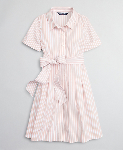 Girls Cotton-Blend Short-Sleeve Stripe Shirt Dress