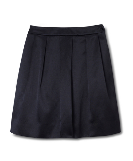 Solid Silk Cotton Satin Skirt