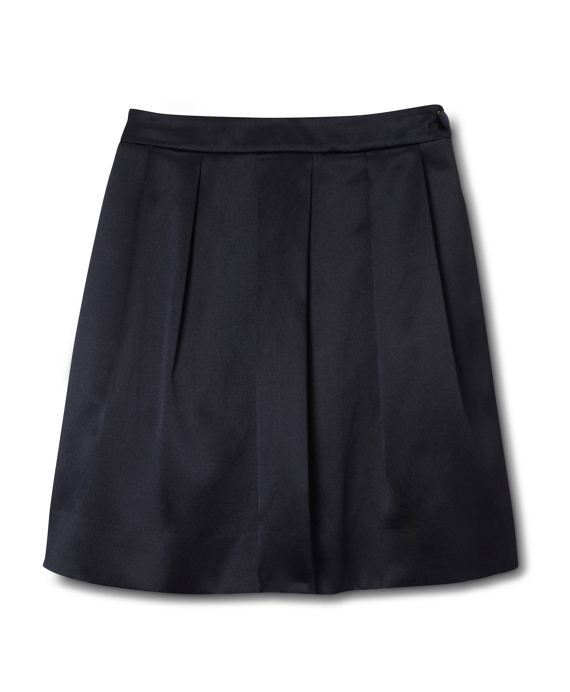 Girls Solid Silk Cotton Satin Skirt Black