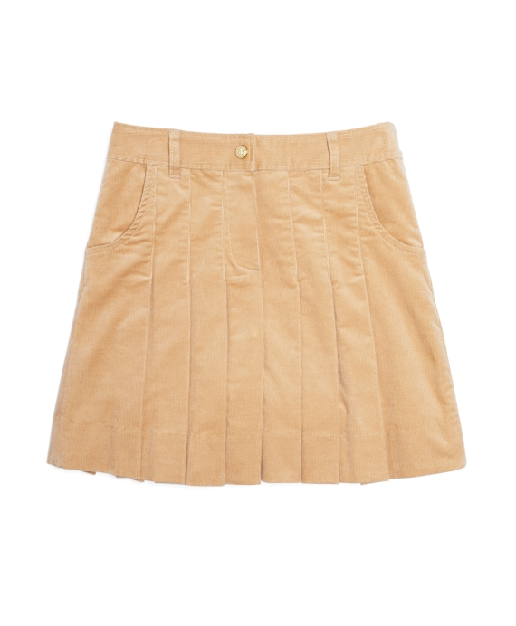 Girls Corduroy Pleated Skirt Tan