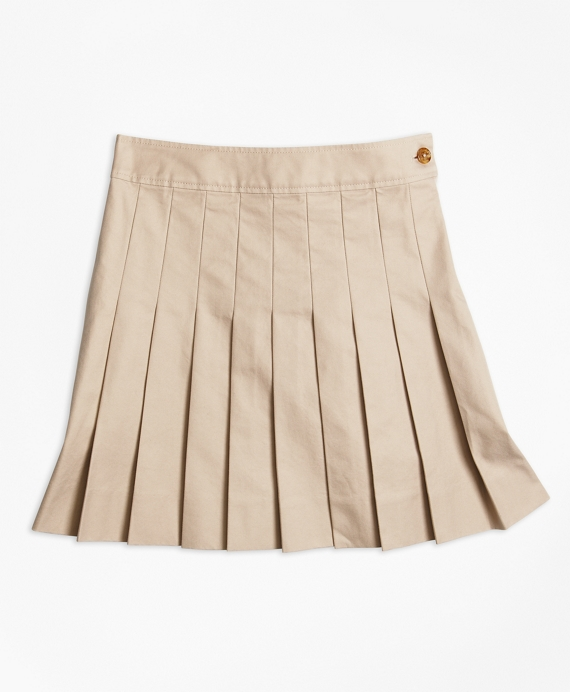 Girls Pleated Chino Skirt Khaki