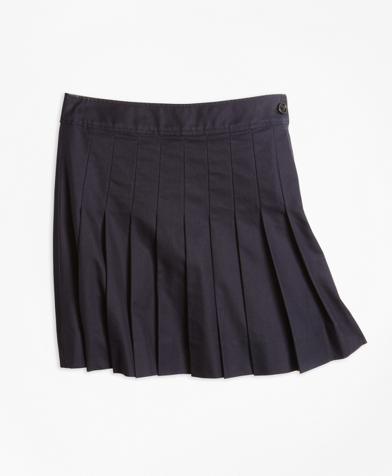 Girls Pleated Chino Skirt Navy