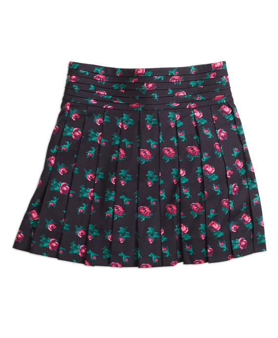 Girls Pleated Floral Skirt Navy