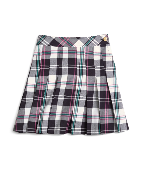 Girls Pleated Tartan Skirt Pink-Green