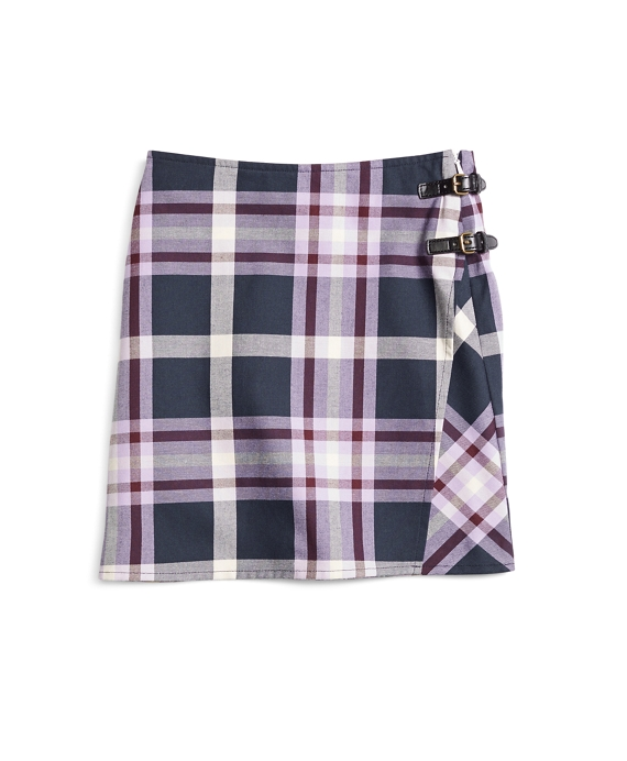 Girls Tartan Skirt Purple Multi