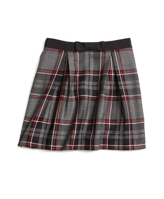Girls Wool Tartan Skirt Charcoal