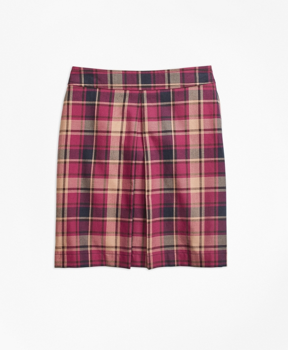 Girls Cotton and Wool Blend Plaid Skirt Navy-Red