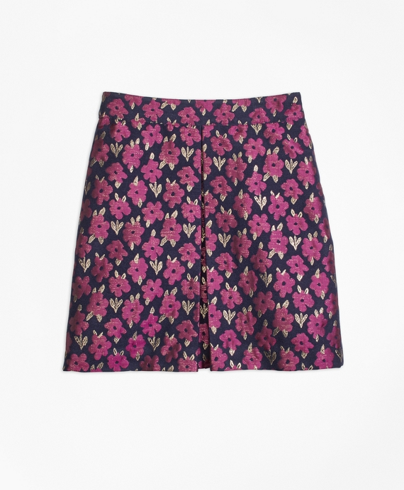 Girls Floral Jacquard Skirt Navy Multi