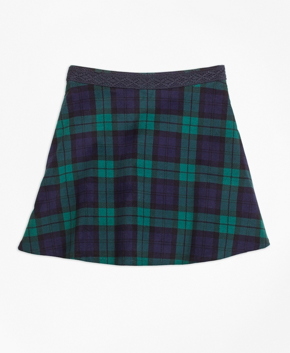 Girls Velvet Black Watch Skirt Green-Navy