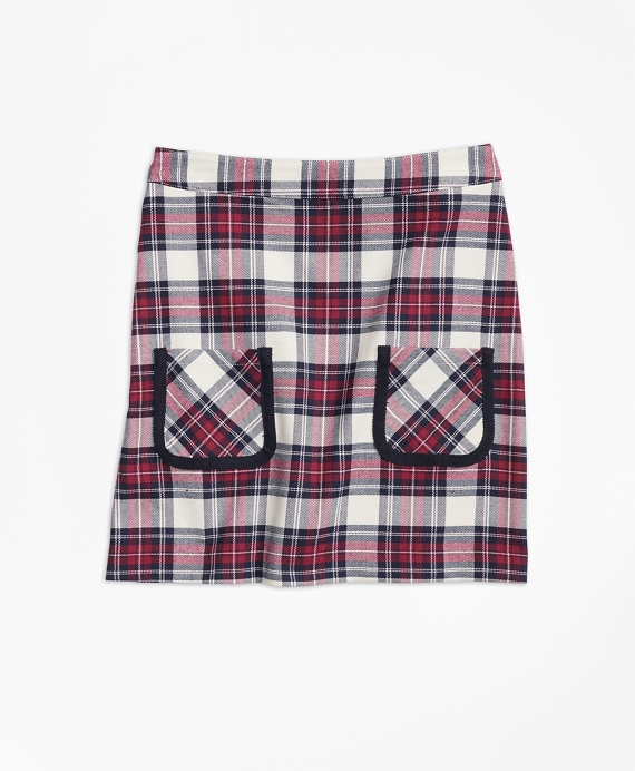 Twill Plaid Skirt White-Multi