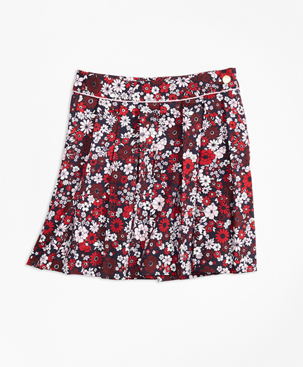 Girls Cotton Sateen Floral Skirt