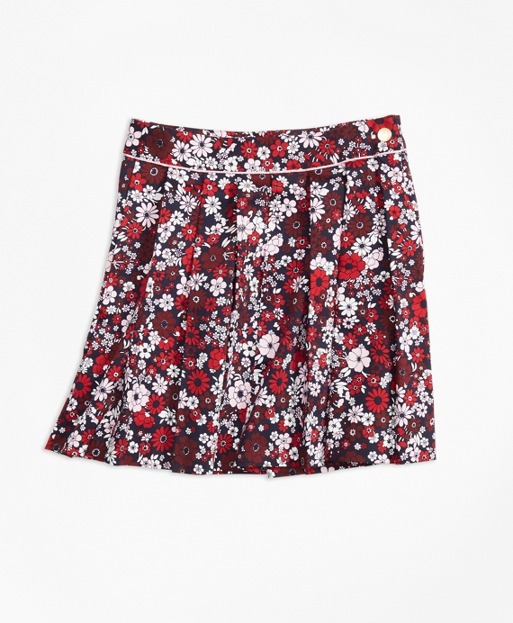 Girls Cotton Sateen Floral Skirt Red-Multi