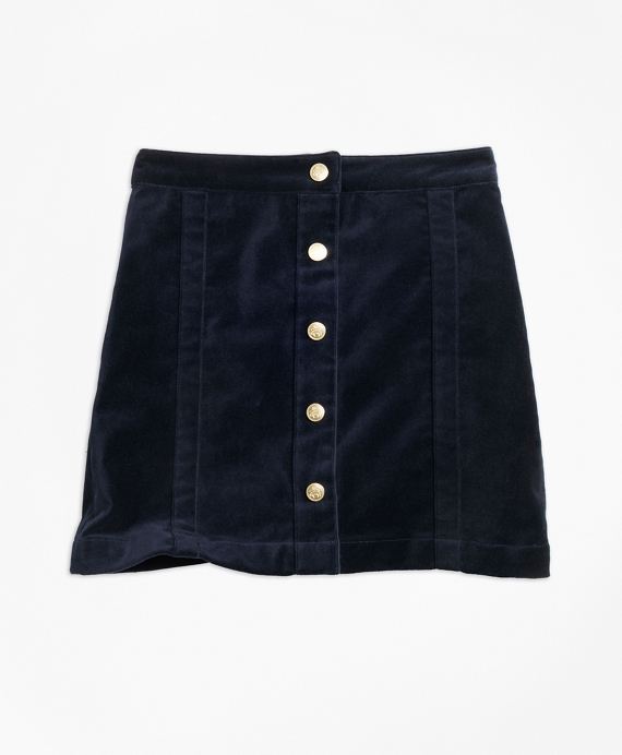 Girls Stretch Velvet Cotton Skirt Navy