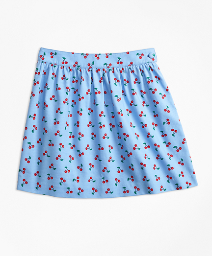 Girls Cotton Pique Tossed Cherry Print Skirt