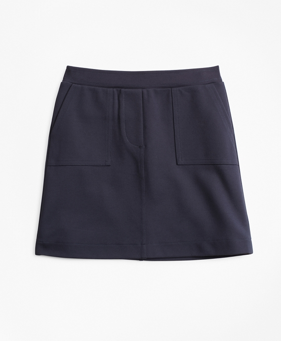 Girls Knit Ponte Skirt Navy