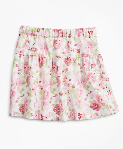 Girls Floral Print Cotton Skirt