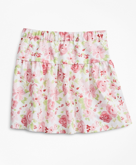 Girls Floral Print Cotton Skirt Pink-Multi