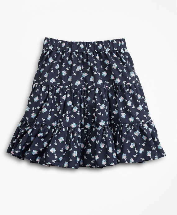 Girls Supima® Cotton Floral Skirt Navy
