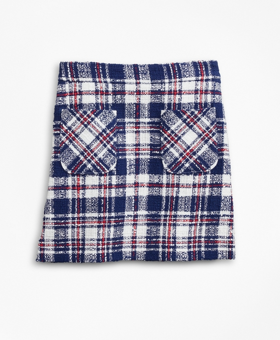 Girls Plaid Skirt Navy-Multi