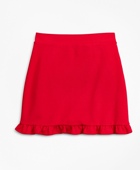 Girls Knit Ponte Skirt Red