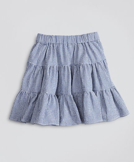 Girls Seersucker Check Ruffle Skirt