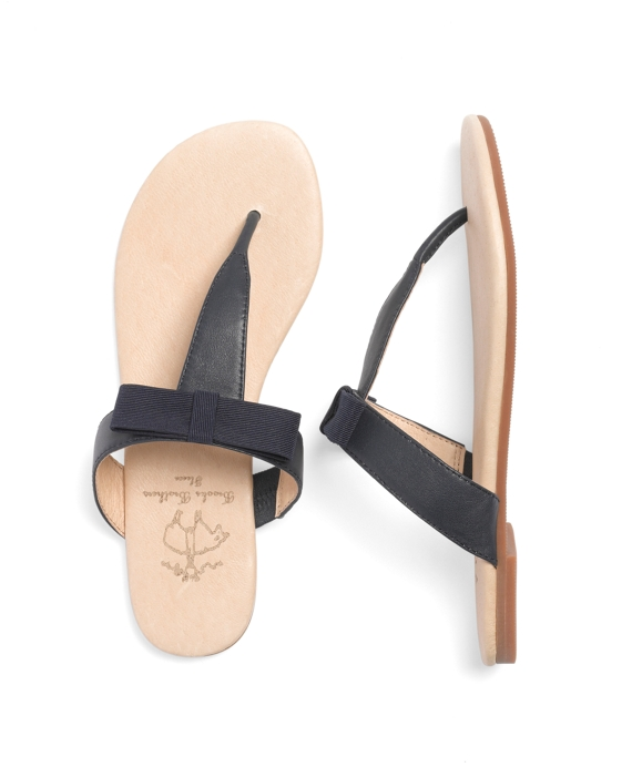 Leather Bow Flip-Flops Navy