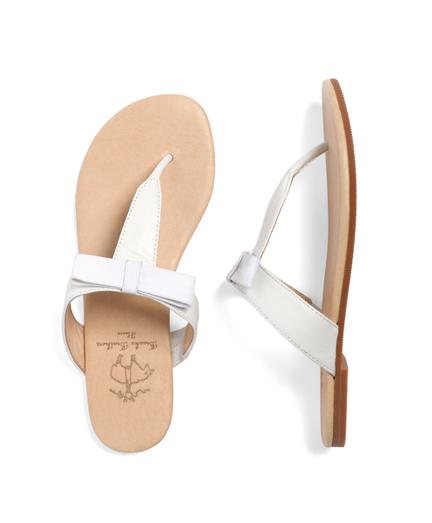 Girls Leather Bow Flip-Flops